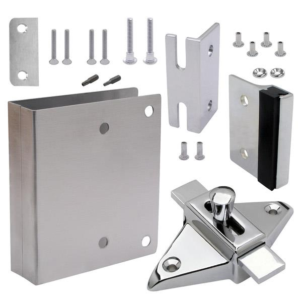 FIXIT KIT LATCH IN SQ EDGE Toilet Partition Hardware Jacknob - Bathroom partition slide latch